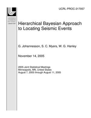Primary view of object titled 'Hierarchical Bayesian Approach to Locating Seismic Events'.