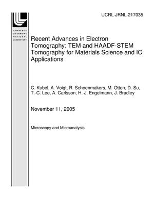 Primary view of object titled 'Recent Advances in Electron Tomography: TEM and HAADF-STEM Tomography for Materials Science and IC Applications'.