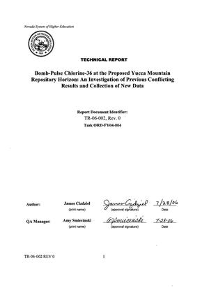 Primary view of object titled 'Bomb-Pulse Chlorine-36 at the Proposed Yucca Mountain Repository Horizon: An Investigation of Previous Conflicting Results and Collection of New Data'.