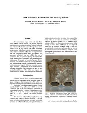 Primary view of object titled 'Hot Corrosion at Air-Ports in Kraft Recovery Boilers'.