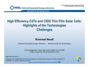 Primary view of object titled 'High Efficiency CdTe and CIGS Thin Film Solar Cells: Highlights of the Technologies Challenges (Presentation)'.