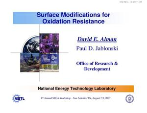 Primary view of object titled 'Surface Modifications for Oxidation Resistance'.