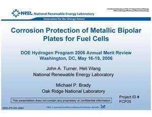 Primary view of object titled 'Corrosion Protection of Metallic Bipolar Plates for Fuel Cells (Presentation)'.