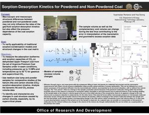 Primary view of object titled 'Sorption-desorption kinetics for powdered and non-powered coal'.