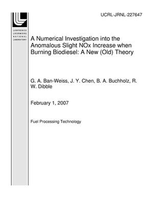 Primary view of object titled 'A Numerical Investigation into the Anomalous Slight NOx Increase when Burning Biodiesel: A New (Old) Theory'.