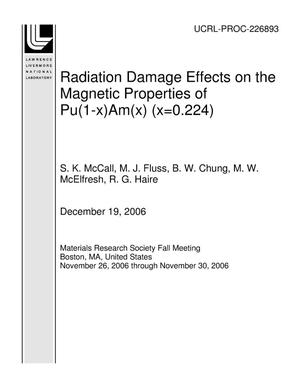 Primary view of object titled 'Radiation Damage Effects on the Magnetic Properties of Pu(1-x)Am(x) (x=0.224)'.