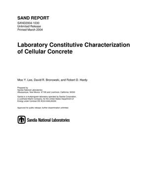 Primary view of object titled 'Laboratory constitutive characterization of cellular concrete.'.