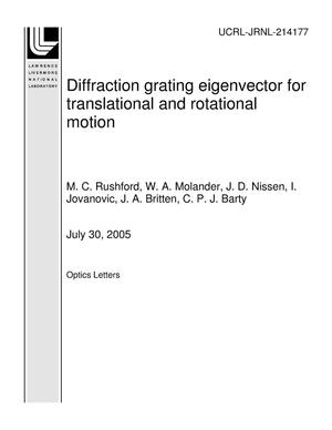 Primary view of object titled 'Diffraction grating eigenvector for translational and rotational motion'.