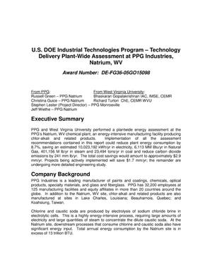 Primary view of object titled 'U.S. DOE Industrial Technologies Program – Technology Delivery Plant-Wide Assessment at PPG Industries, Natrium, WV'.