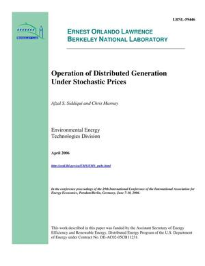 Primary view of object titled 'Operation of Distributed Generation Under Stochastic Prices'.