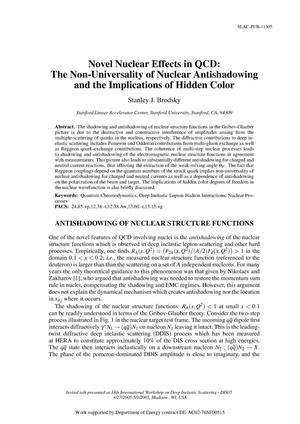 Primary view of object titled 'Novel Nuclear Effects in QCD: Non-Universality of Nuclear Antishadowing and Hidden Color Phenomena'.