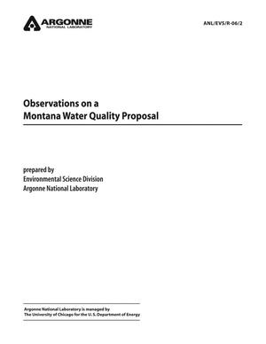 Primary view of object titled 'Observations on a Montana water quality proposal.'.