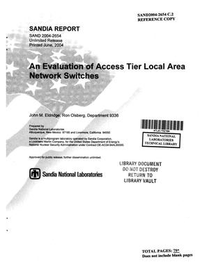Primary view of object titled 'An evaluation of Access Tier local area network switches.'.