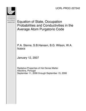 Primary view of object titled 'Equation of State, Occupation Probabilities and Conductivities in the Average Atom Purgatorio Code'.