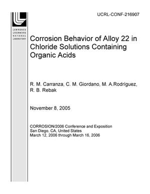 Primary view of object titled 'Corrosion Behavior of Alloy 22 in Chloride Solutions Containing Organic Acids'.