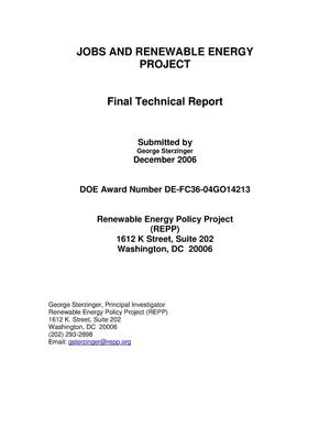 Primary view of object titled 'Jobs and Renewable Energy Project'.