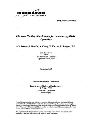 Primary view of object titled 'ELECTRON COOLING SIMULATIONS FOR LOW-ENERGY RHIC OPERATION.'.