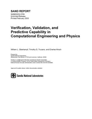 Primary view of object titled 'Verification, validation, and predictive capability in computational engineering and physics.'.