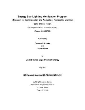 Primary view of object titled 'Energy Star Lighting Verification Program'.