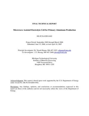 Primary view of object titled 'Final Technical Report Microwave Assisted Electrolyte Cell for Primary Aluminum Production'.