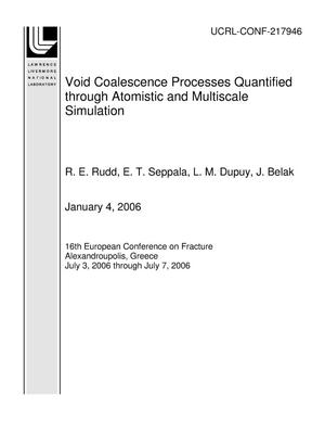 Primary view of object titled 'Void Coalescence Processes Quantified through Atomistic and Multiscale Simulation'.