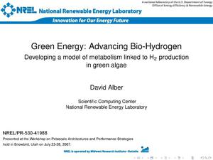 Primary view of object titled 'Green Energy: Advancing Bio-Hydrogen (Presentation)'.