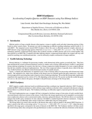 Primary view of object titled 'HDF5-FastQuery: Accelerating Complex Queries on HDF Datasets UsingFast Bitmap Indices'.