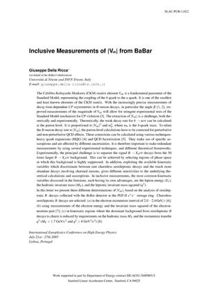 Primary view of object titled 'Inclusive Measurements of |V(ub)| From BaBar'.