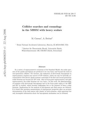 Primary view of object titled 'Collider searches and cosmology in the MSSM with heavy scalars'.