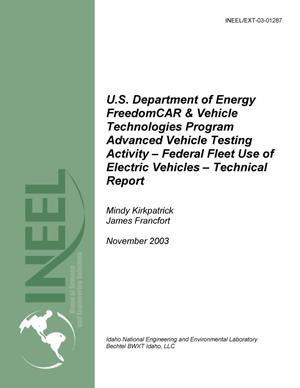 Primary view of object titled 'U.S. Department of Energy FreedomCAR and Vehicle Technologies Program Advanced Vehicle Testing Activity Federal Fleet Use of Electric Vehicles'.