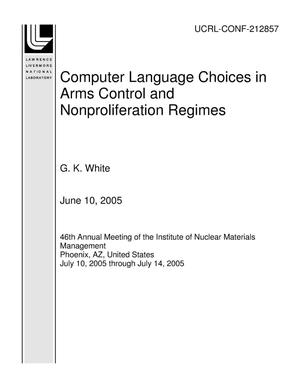 Primary view of object titled 'Computer Language Choices in Arms Control and Nonproliferation Regimes'.