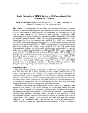 Primary view of object titled 'Rapid Estimation of TPH Reduction in Oil-Contaminated Soils Using the MED Method'.