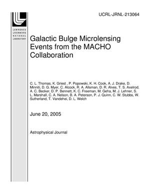 Primary view of object titled 'Galactic Bulge Microlensing Events from the MACHO Collaboration'.