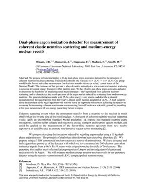 Primary view of object titled 'Dual-phase argon ionization detector for measurement of coherent elastic neutrino scattering and medium-energy nuclear recoils'.