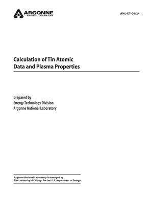 Primary view of object titled 'Calculation of tin atomic data and plasma properties.'.