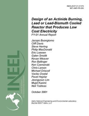 Primary view of object titled 'Design of an Actinide Burning, Lead or Lead-Bismuth Cooled Reactor that Produces Low Cost Electricity FY-01 Annual Report, October 2001'.
