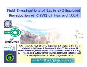 Primary view of object titled 'Field Investigations of Lactate-Stimulated Bioreduction of Cr(VI) at Hanford 100H'.