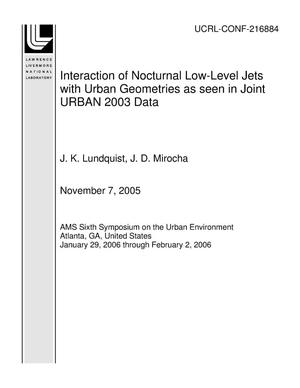 Primary view of object titled 'Interaction of Nocturnal Low-Level Jets with Urban Geometries as seen in Joint URBAN 2003 Data'.