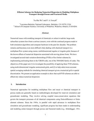 Primary view of object titled 'Efficient Schemes for Reducing Numerical Dispersion in ModelingMultiphase Transport through Porous and Fractured Media'.