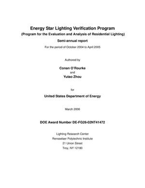 Primary view of object titled 'Energy Star Lighting Verification Program (Program for the Evaluation and Analysis of Residential Lighting)'.