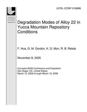 Primary view of object titled 'Degradation Modes of Alloy 22 in Yucca Mountain Repository Conditions'.