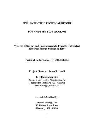 Primary view of object titled 'ENERGY EFFICIENCY AND ENVIRONMENTALLY FRIENDLY DISTRIBUTED ENERGY STORAGE BATTERY'.