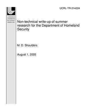 Primary view of object titled 'Non-technical write-up of summer research for the Department of Homeland Security'.