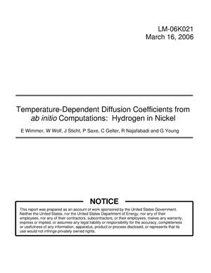Primary view of object titled 'Temperature-Dependent Diffusion Coefficients from ab initio Computations: Hydrogen in Nickel'.