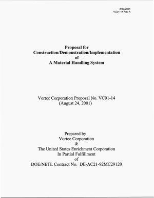 Primary view of object titled 'Proposal for Construction/Demonstration/Implementation of A Material Handling System'.