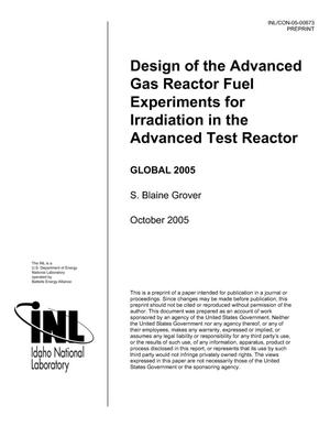 Primary view of object titled 'Design of the Advanced Gas Reactor Fuel Experiments for Irradiation in the Advanced Test Reactor'.