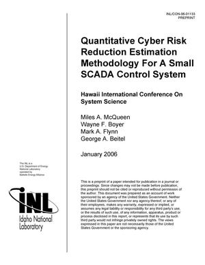 Primary view of object titled 'Quantitative Cyber Risk Reduction Estimation Methodology for a Small Scada Control System'.