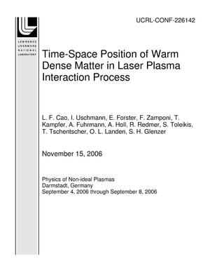 Primary view of object titled 'Time-Space Position of Warm Dense Matter in Laser Plasma Interaction Process'.