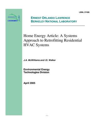 Primary view of object titled 'Home Energy Article: A Systems Approach to RetrofittingResidential HVAC Systems'.