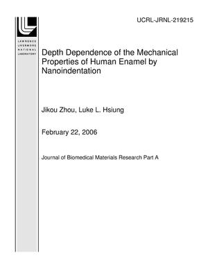 Primary view of object titled 'Depth Dependence of the Mechanical Properties of Human Enamel by Nanoindentation'.